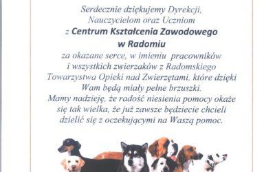 PODZIĘKOWANIE DLA CKZ w Radomiu od Radomskiego Towarzystwa Opieki nad Zwierzętami